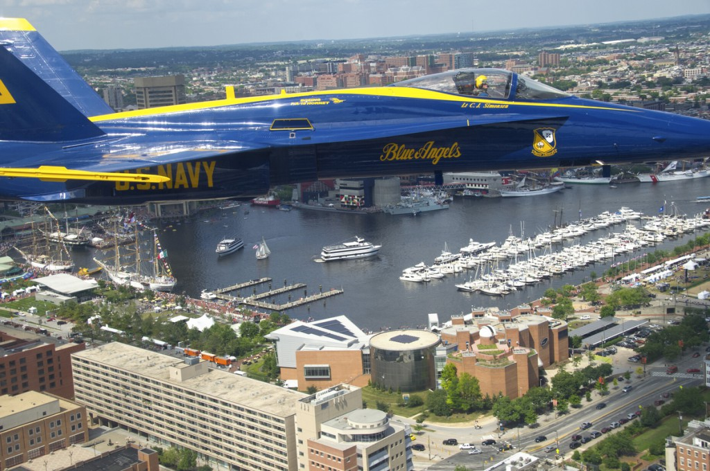 The Navy's Blue Angels perform over Baltimore's Inner Harbor